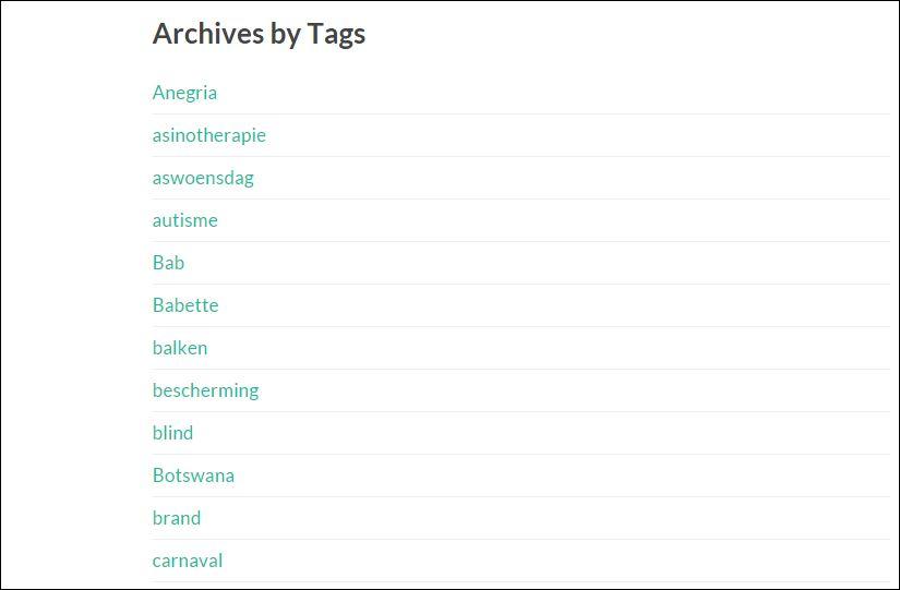 screenshot Archief ezelhof - tags